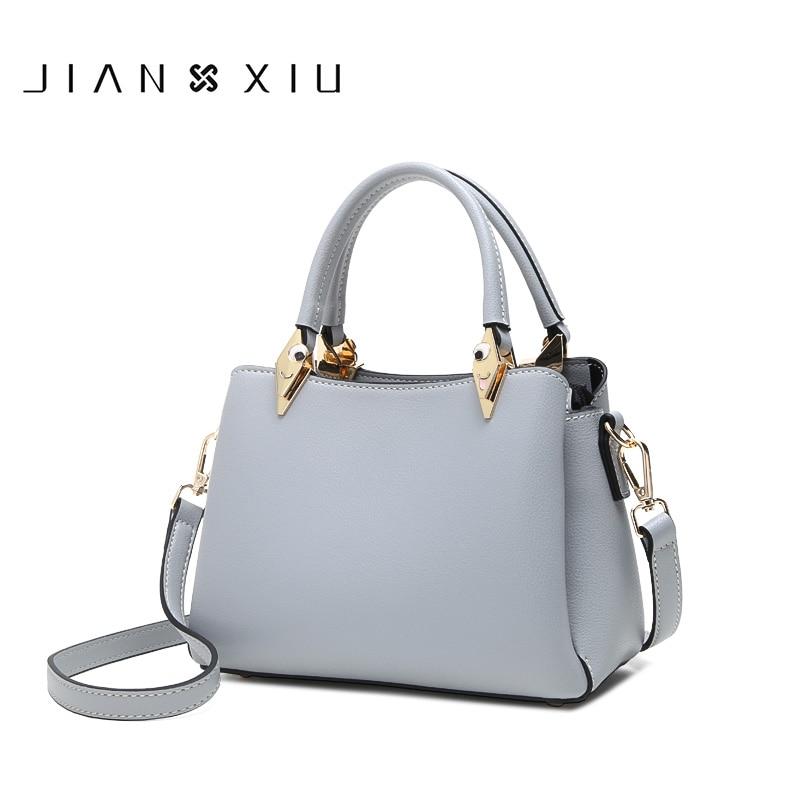 JIANXIU-حقيبة يد نسائية من جلد البولي يوريثان ، حقيبة حمل فاخرة ، متعددة المساحة ، حقيبة كتف بلون واحد ، 2018