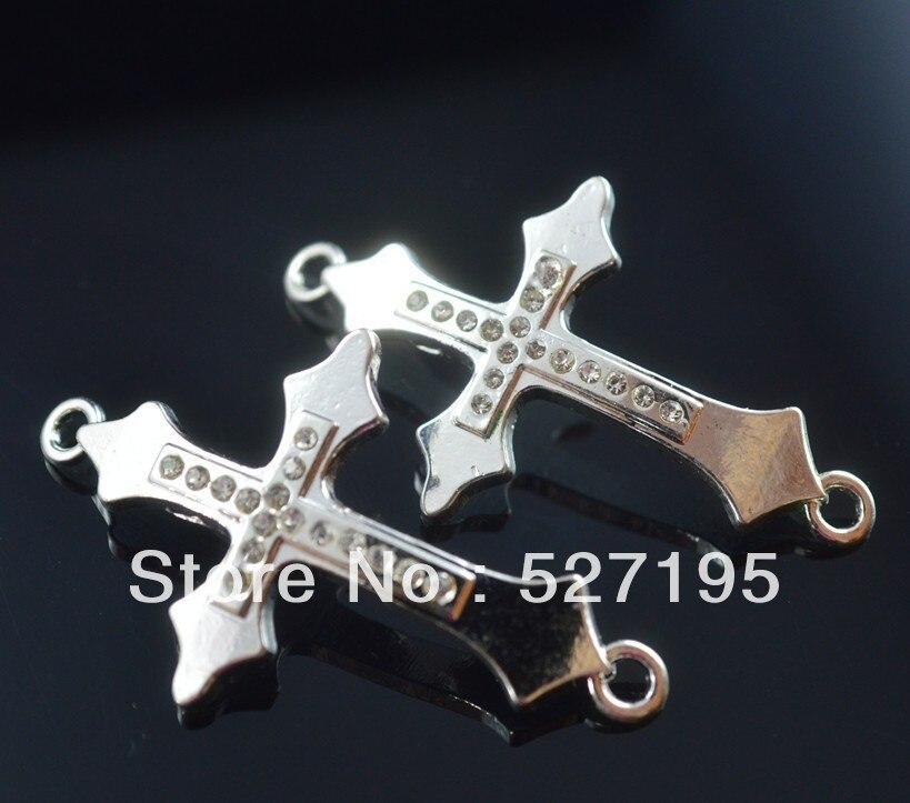 Conector de Cruz cuentas para hacer pulseras de diamantes de imitación de cristal chapado en oro para joyería DIY