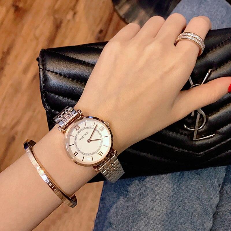 Neue Mode Rose Gold Edelstahl Uhren Frauen damen casual kleid quarz armbanduhr luxus 2019 reloj mujer Toluck Marke