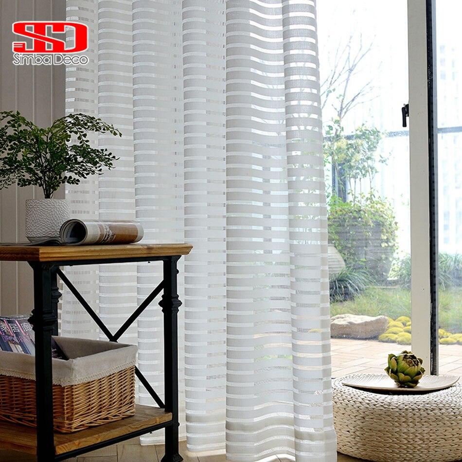 Rayas modernas de cortinas para sala de estar blanco de gasa corta transparente cortinas ventana tratamiento único de cocina de Panel