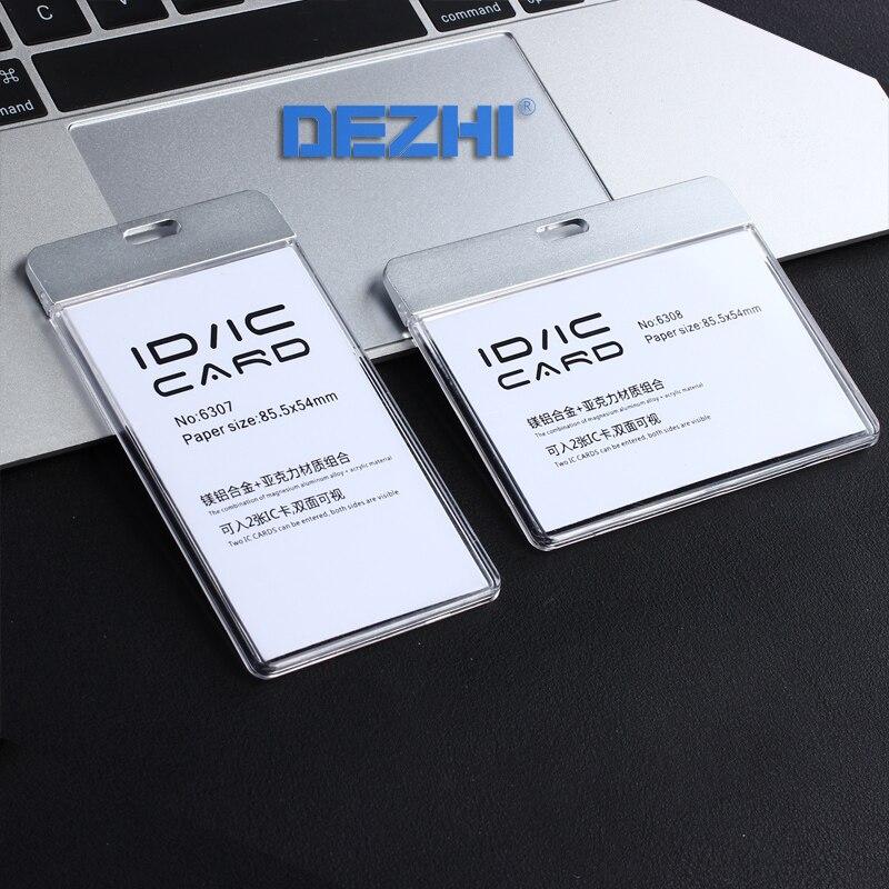 Bicicletas de-nueva moda tarjeta ID IC escapada de la titular de la placa de claro titular de la placa de tarjeta de trabajo sin cordón acrílico con Material de Metal