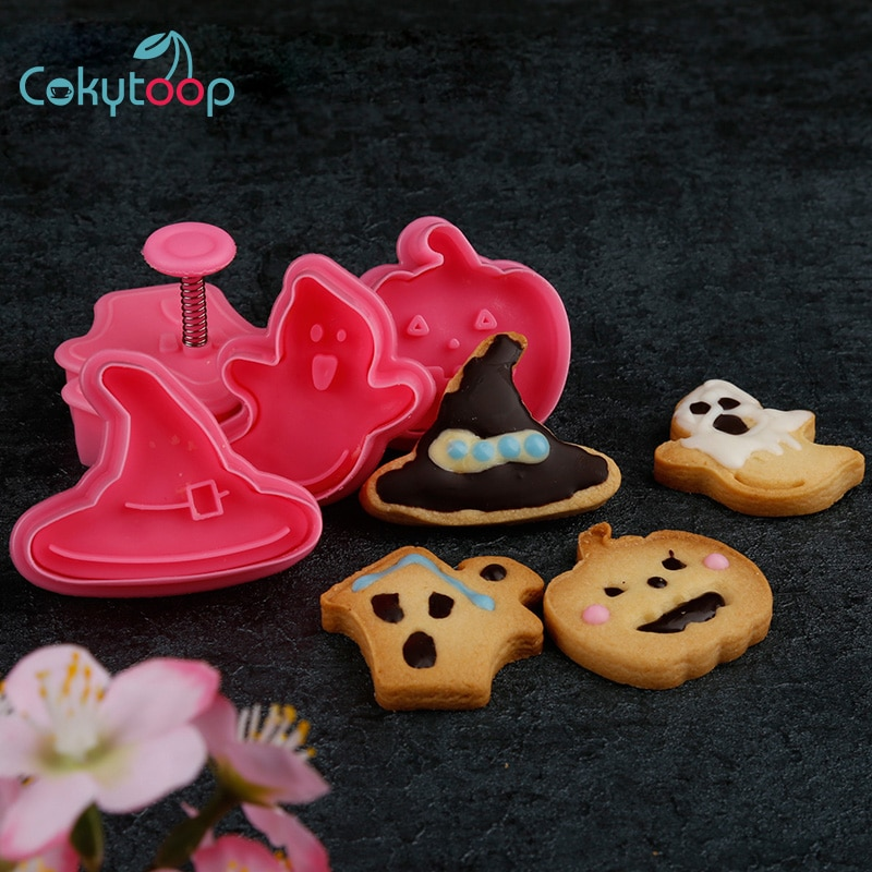 Cokytoop, cortadores de galletas con temática de Halloween, 4 Uds., sombrero de bruja con casa fantasma, herramienta de horneado de plástico de calidad alimentaria de calabaza, sellos de galletas