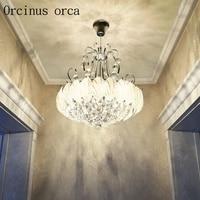 Korean romantic crystal chandeliers dining room bedroom modern minimalist creative personality crystal lamp free shipping