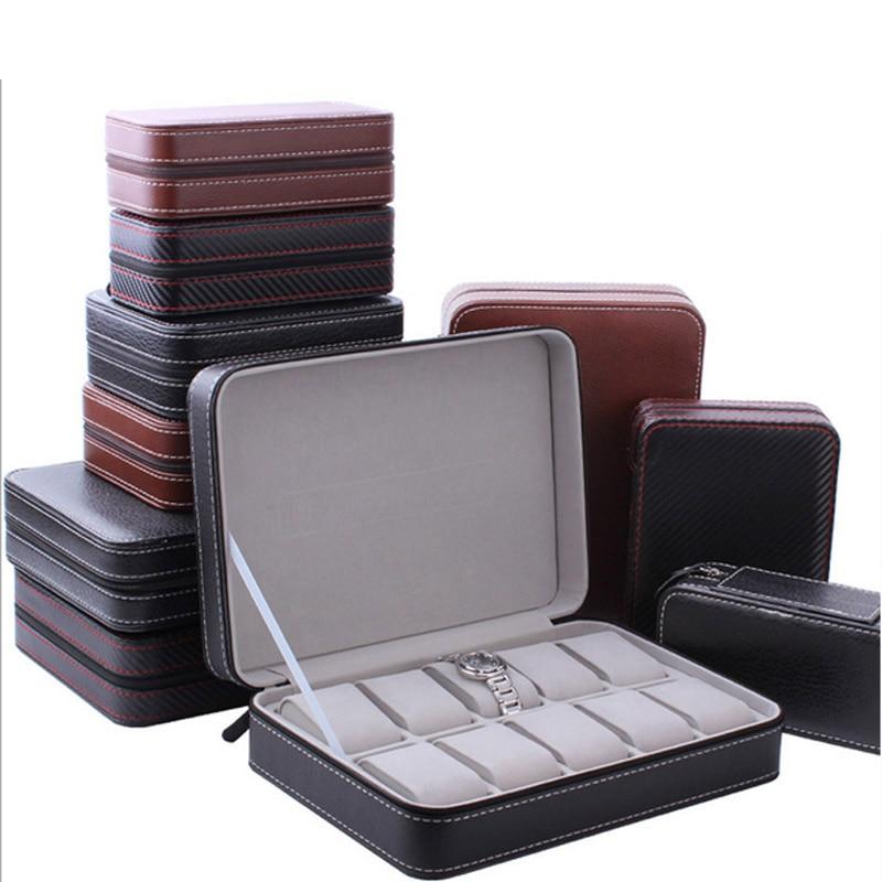 Moda de Luxo Caixa Organizador 10 Grades Coletor Relógio Relógio de Jóias Caixa De Jóias De estilo De Couro Com Zíper Casos caixa de armazenamento de viagem
