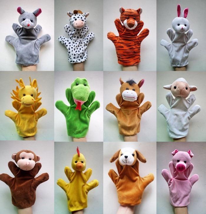 12 unids/lote de divertidas marionetas de mano para niños, marionetas de mano de felpa para la venta, títeres de mano de dibujos animados de estilo zodiaco chino de gran tamaño