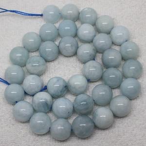 "Mini. order is $7! 9,11mm Natural Blue Aquamarines Round Loose Beads 15"""
