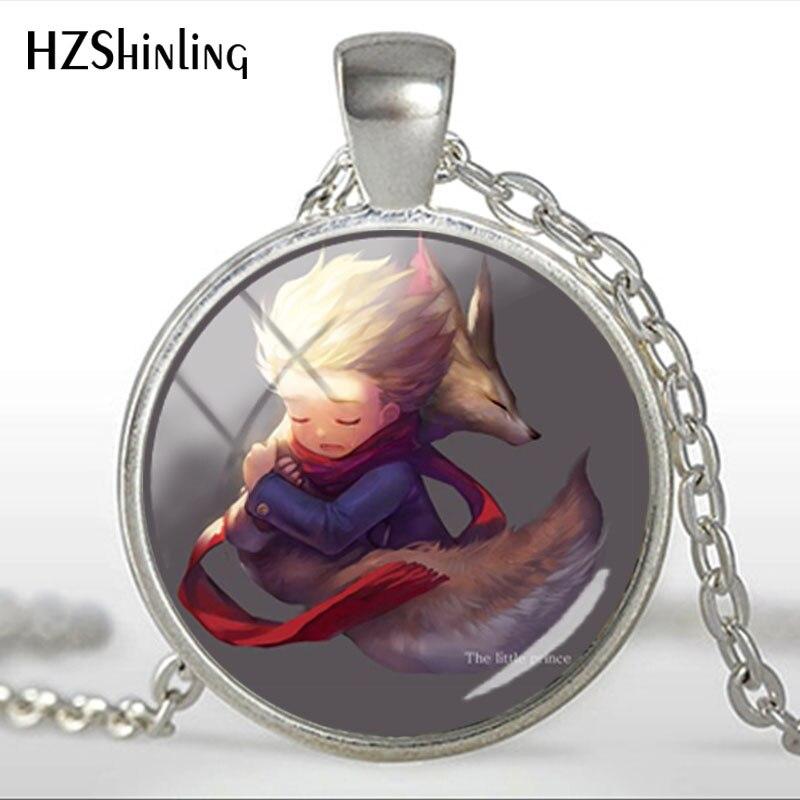 Collar de cúpula de cristal a la moda, collares de cadena de colores novedosos hechos a mano de The Little Prince Fox Fairy Tale Animal, joyería