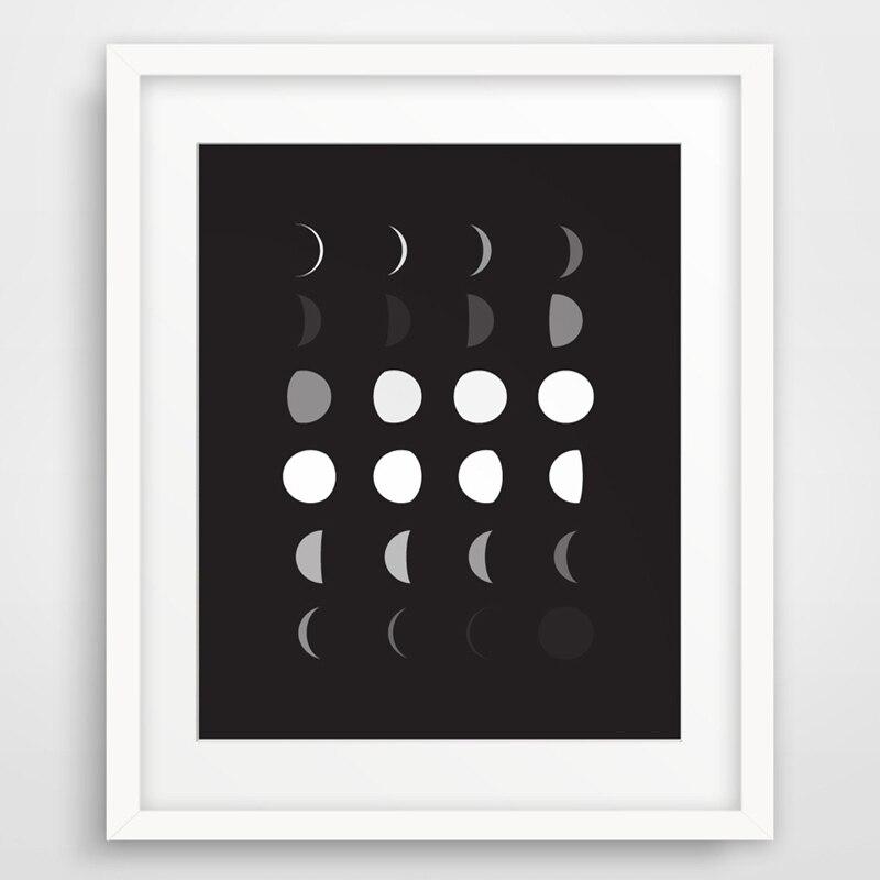 Impresión de fase de Luna, arte de pared imprimible, arte de la pared de blanco y negro de pared moderno foto lienzo arte aceite pintura sin marco