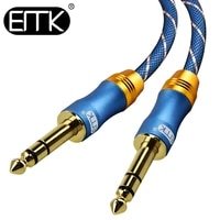 emk trs cable 6 35 14 male to male trs stereo jack audio cable with metal housing and nylon braid for ipodlaptophome theater