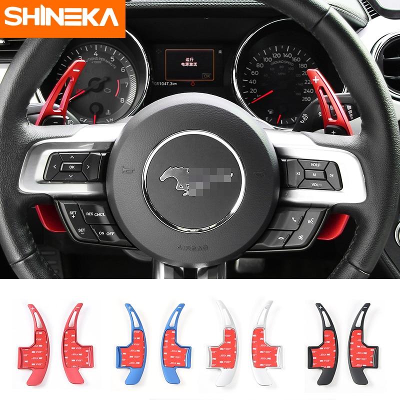 SHINEKA, diseño de coche para Mustang 2016, cambio de engranaje de volante, paleta de aleación de aluminio, cubierta embellecedora para Ford Mustang 2015 +