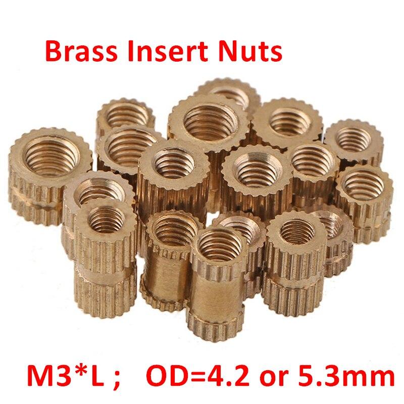 100 pcs Nozes Inserção de Bronze M3 * 3/4/5/6/8/10mm OD = 4.2 ou 5.3mm Serrilhada Inserções De Bronze Cobre Nozes Porcas Inserções de Moldagem Por Injeção