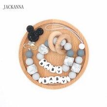 Clips de sucette pour bébé   Personnalisé, nom souris, ensemble de Clips de sucette pour nouveau-né anneau de dentition, porte-sucette en Silicone, chaînes sans BPA