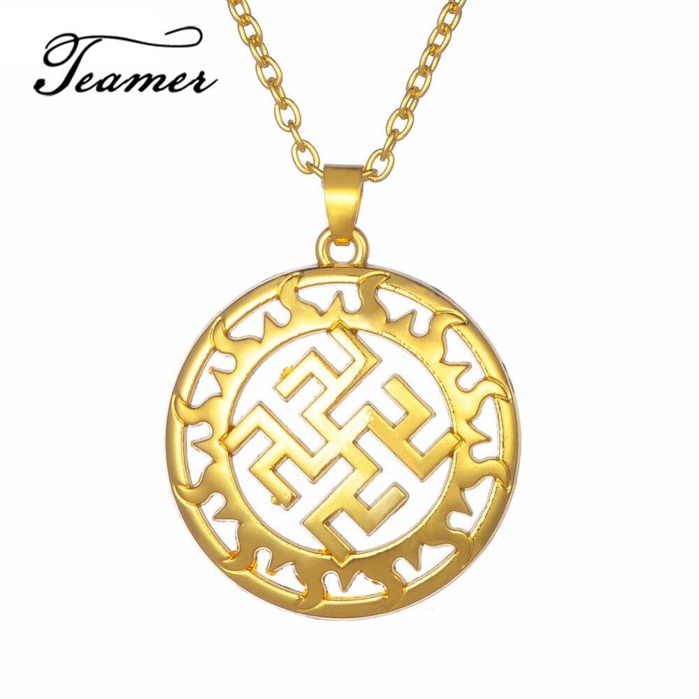 Teamer Sun vikingo Pedant y collar círculo hechizos Insignia Triquetra Supernatural amuleto Bulgaria joyería Wicca