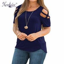 Nemidor femmes décontracté à bretelles épaule froide t-shirts T-Shirt solide à manches courtes été grande taille hauts