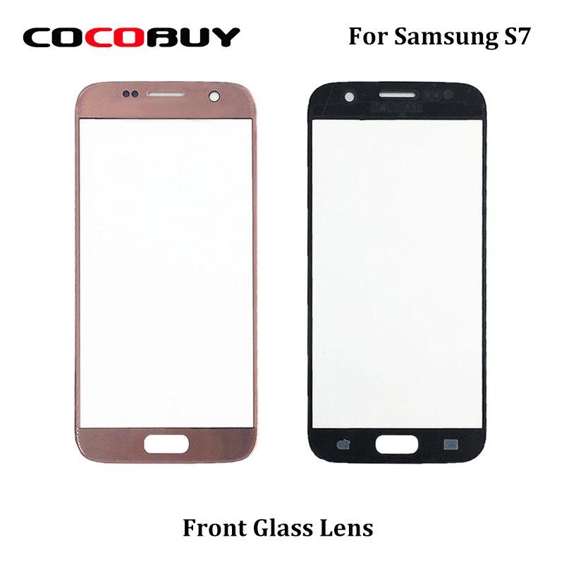 "10 unids/bolsa de alta calidad Ori Lente de Cristal frontal para Samsung Galaxy S7 G930 5,1 ""-negro blanco oro plata Rosa oro rosa AAA +"