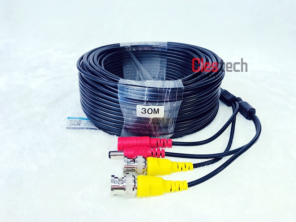 ALL Copper 30M WIRE Video Power AHD Cables Camera extend Wires for CCTV DVR Surveillance System with BNC DC Connectors Extension enlarge