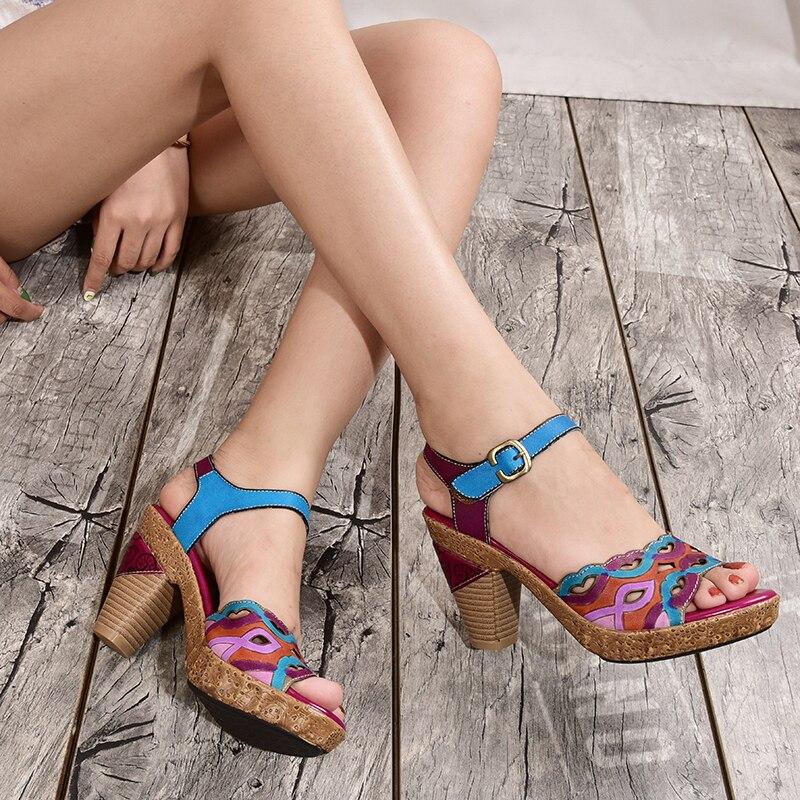 2019 verano Original Peep toes zapatos mujeres sandalias genuinas de cuero correa de tobillo hebilla zapatos de tacón alto señora sandalias de plataforma
