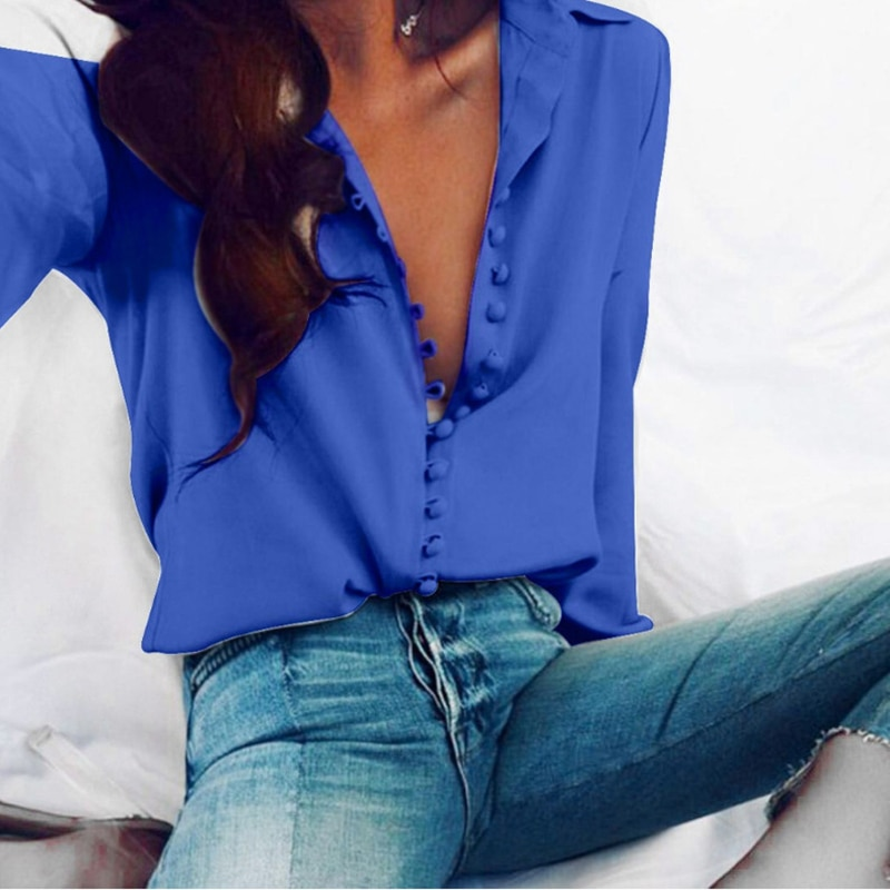 Осенняя шифоновая женская блузка с длинными рукавами, топы больших размеров, офисные женские рубашки на пуговицах, повседневные футболки, ж...