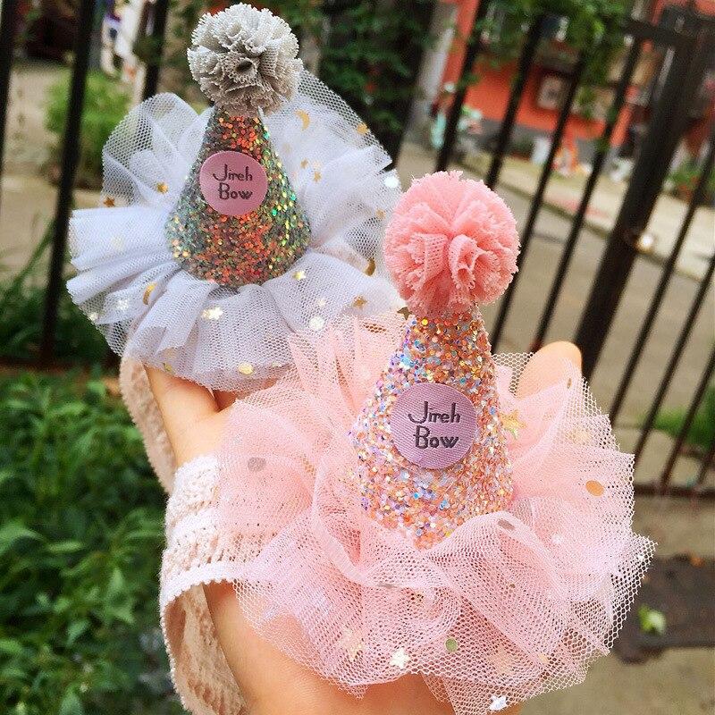 Diadema con cono para bebé, diadema con lentejuelas, banda para la cabeza para niños, diadema de nailon, accesorios para fotos de recién nacidos