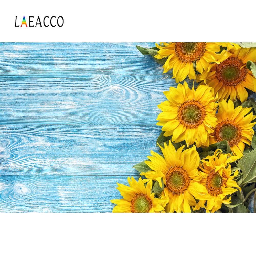 Laeacco фото фон синяя деревянная доска Подсолнух Pet ребенок кукла портрет фотография фон для фотосъемки цифровая Фотостудия