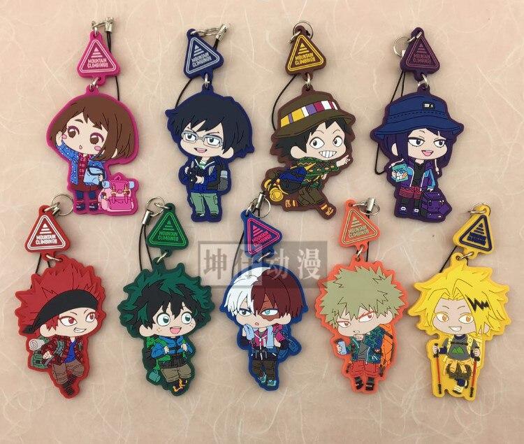 9 sztuk/partia My Hero Academia japońskie anime rysunek bakugo katsuki OCHACO URARAKA Todoroki gumowe mobilne charmsy do telefonu/brelok/pasek