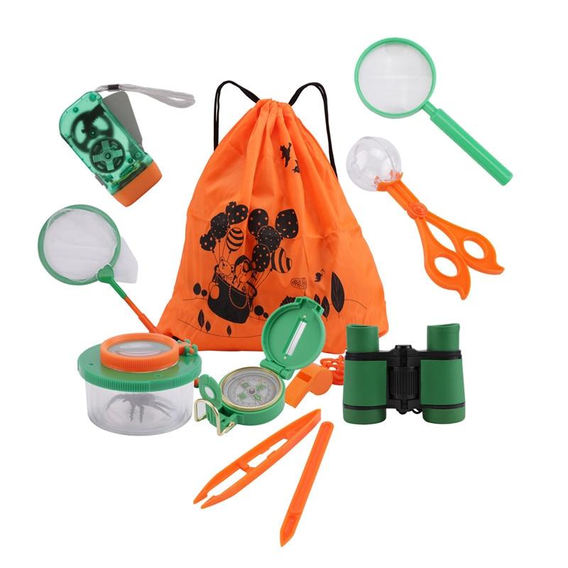 11 Uds. Equipo de exploración de aventurero para niños, Kit de explorador al aire libre para Camping, caza y senderismo, juguetes educativos para niños