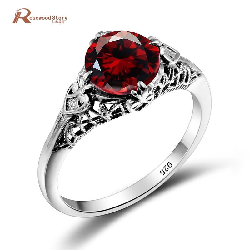 Hermoso anillo búlgaro de piedra granate de cristal hecho a mano Rosa anillo de compromiso joyería de moda anillo de Plata de Ley 925 auténtica para las mujeres