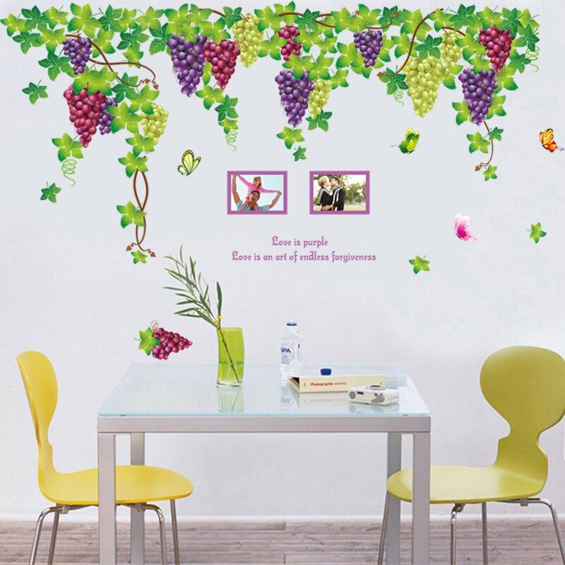 Extra grande fruta púrpura uva pegatinas de pared para pared de salón arte mural decorativo diy extraíble pvc calcomanías