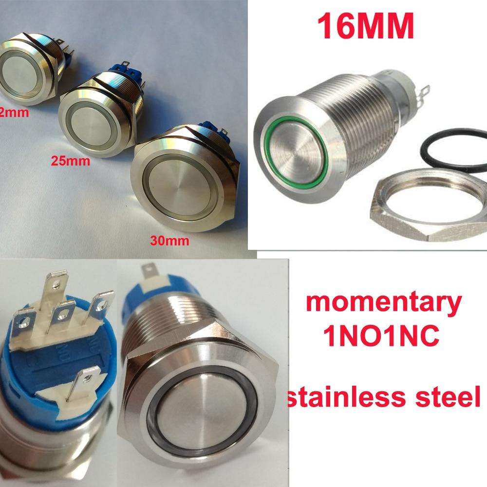 16mm 19mm 22mm 25mm 30mm 6V 12V 230V anillo Led luz momentánea botón interruptor DPST Metal Industrial barco coche DIY interruptor