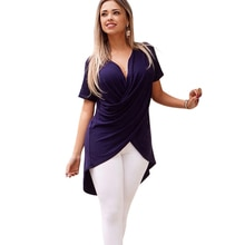 Camiseta asimétrica de Color sólido con cuello en V Casual para mujer 2019 para verano CGU 88