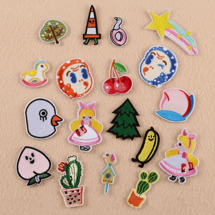 10 Uds., pequeño ángel, Estrella arcoíris melocotón, bordado de hierro en parches, Popular insignia de tela, chaqueta, pegatina, accesorio para prendas DIY