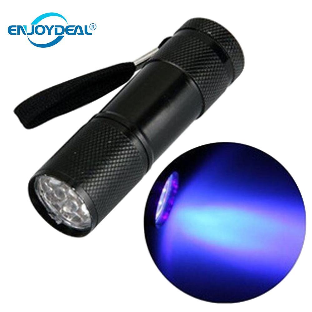 9 LED UV linterna Ultravioleta luz ultravioleta linterna Ultravioleta marcador con tinta invisible antorcha luz 3AAA batería lámpara UV