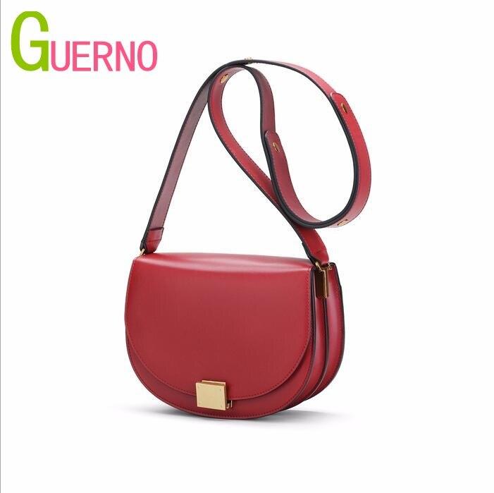 GUERNO 2019 new leather womens retro European organ saddle bag simple wide shoulder strap womens bag al016