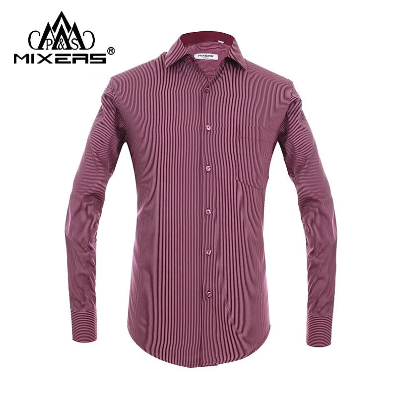 Brand 2018 Striped Men Dress Shirt Long Sleeve Regular Fit Big Sizes Red Casual Shirt Men Cotton Formal Shirt Men Clothes 2018