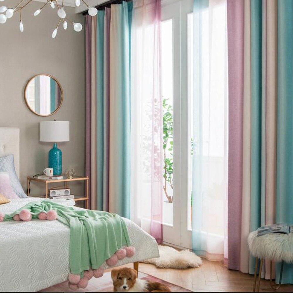 Cortinas de ventana degradadas, cortinas con estampado de rayas del arco iris, cortinas decorativas de gasa transparente de tul para sala de estar, dormitorio, azul