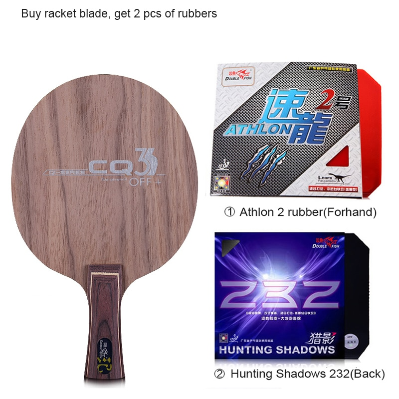 Double fish CQ3 7-PLY Ayous walnut wood dual Carbon fiber offensive professional table tennis racket blade paddle with 2 rubbers