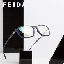 FEIDA TR90, gafas elásticas ultraligeras para hombres y mujeres, gafas cuadradas transparentes, gafas de moda claras falsas para Miopía