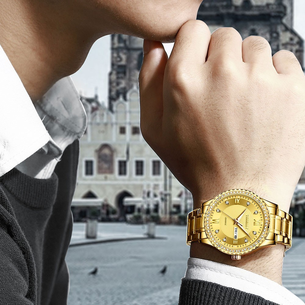 Luxury Gold Diamond Men Watches Tisselly Top Brand Luminous Dial Steel Bracelet Watchband Date Male Clock Business Wristwatch enlarge