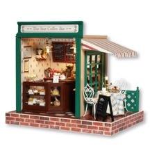 Maison de poupée meubles miniatura bricolage létoile café bar en bois à la main adultes jouets pour enfants cadeau danniversaire