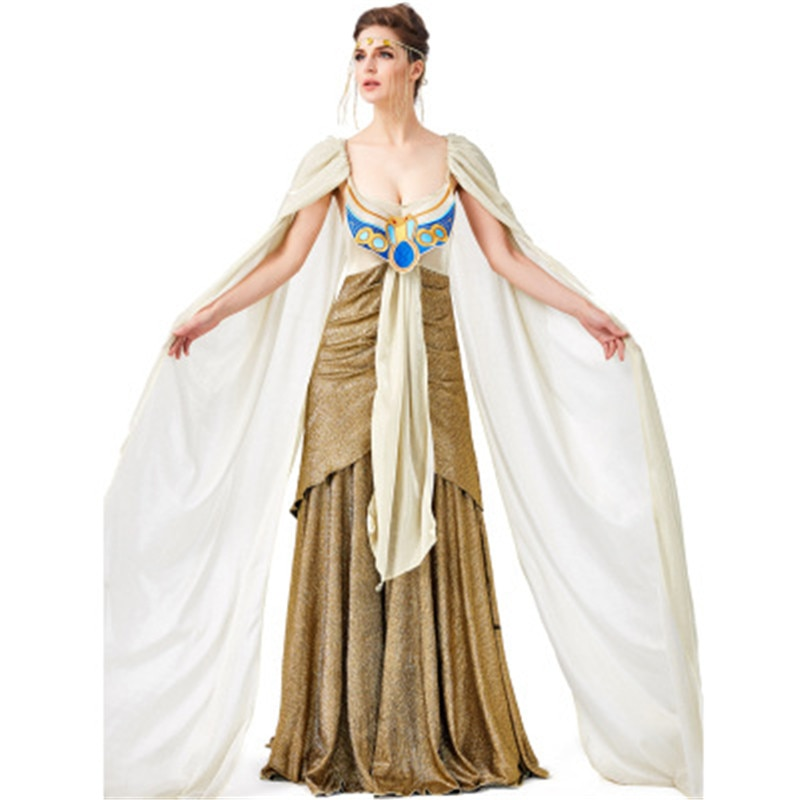 Women Girls Halloween Costumes Ancient Egypt Egyptian Pharaoh King Empress Cleopatra Queen Costume Cosplay Clothing Wig S M L