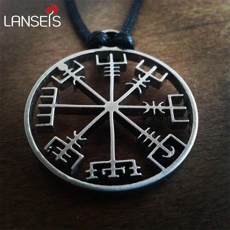 1 adet viking odin ın sembolü İskandinav runik kolye kolye Viking Runes Vegvisir pusula kolye