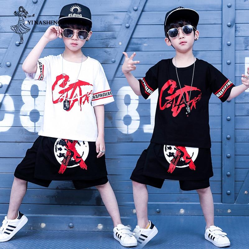 Jazz Dance Costumes Boys Children Hip Hop Sports Street Dance Clothing for Kid Big Children Short Sleeve Six Children Costumes