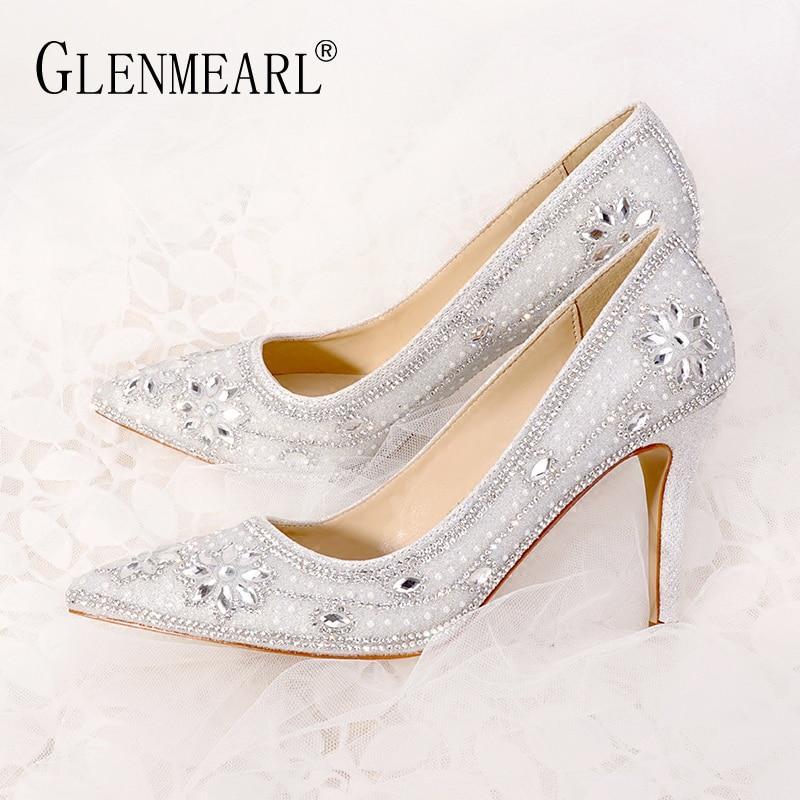 Women Wedding Shoes High Heels Luxury Design Women Pumps Crystal Pointed Toe Party Shoes Brand Sliver Plus Size Female Pumps DE