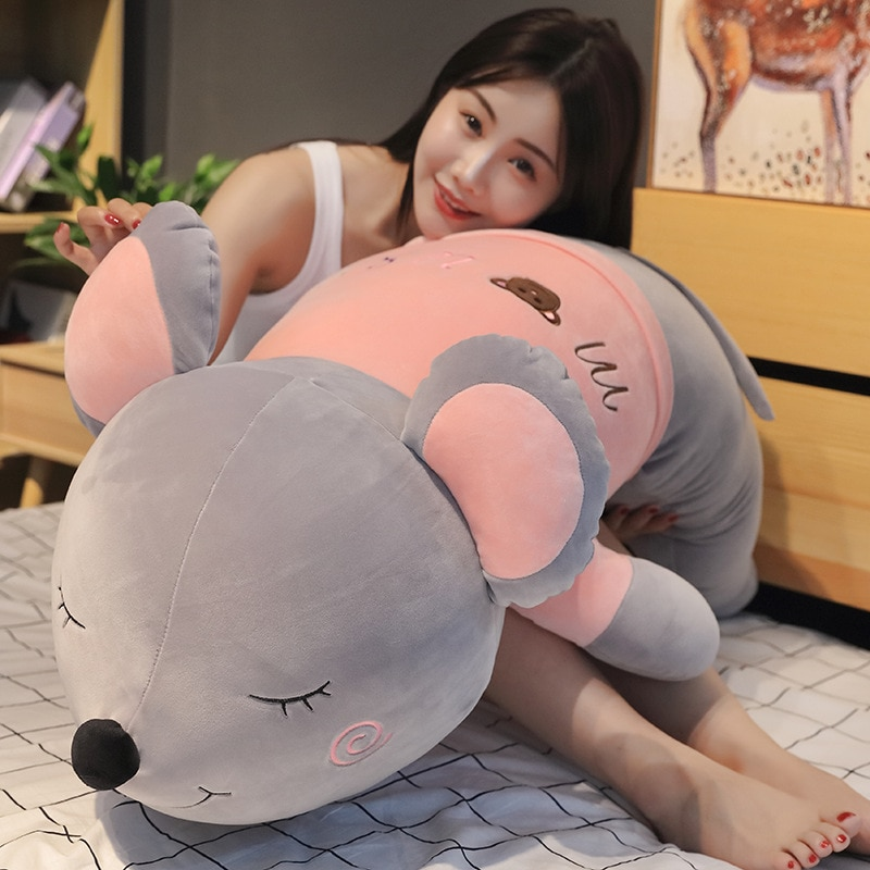 60cm/80cm/100cm Simulation Funny Mouse Plush Toy Soft Cartoon Animal Gray Long Mouse Stuffed Doll Sofa Nap Pillow Cushion Gift