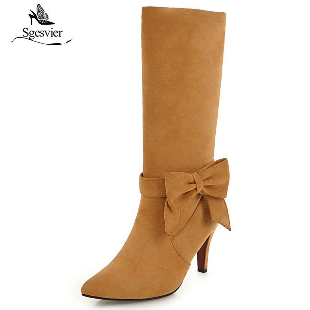 Sgesvier 2018 moda de invierno bandada de pajarita negro rojo amarillo Caballero Riding botas de media caña de tacón botas de nieve para fiesta de boda B677