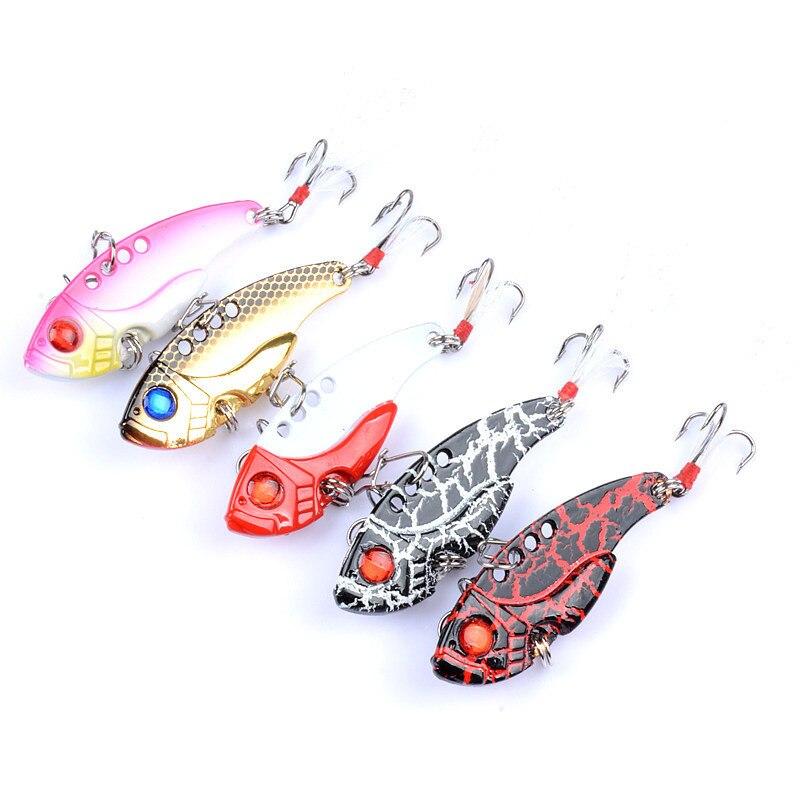 5Pcs/Lot Metal VIB Lures 5.5cm/11g Vivid Vibrations Spoon Lure Fishing Bait Bass Artificial Hard Bait Cicada Lure Baits 3D Eye enlarge