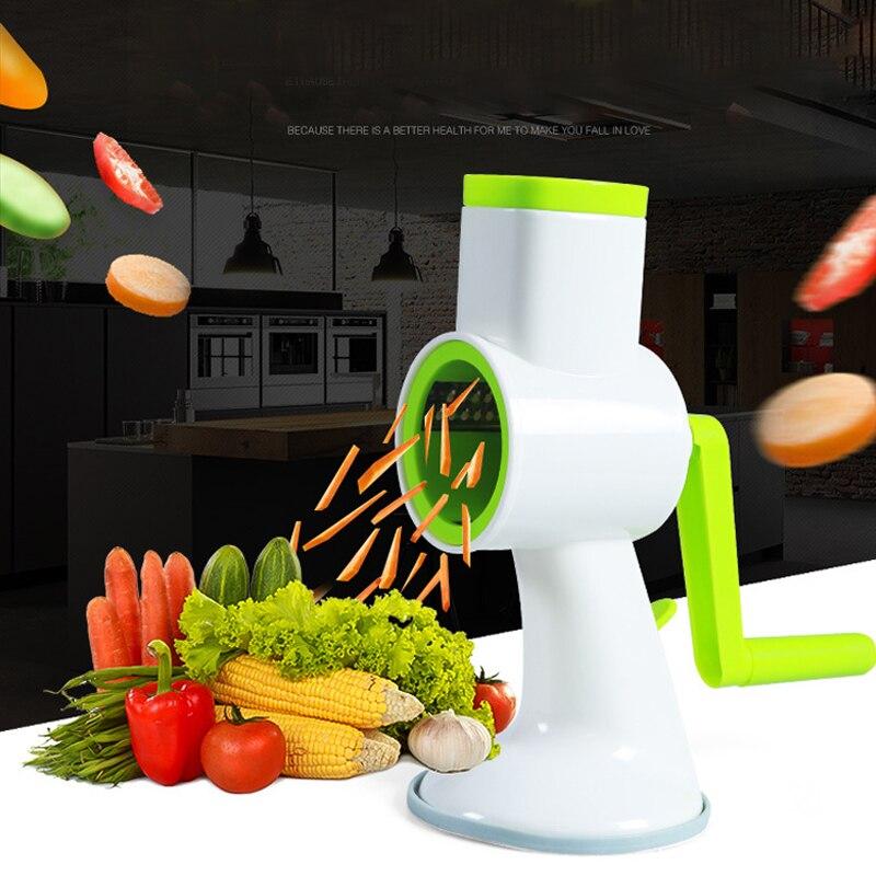 Cortador de verduras Manual multifunción cuatro en uno, hélice giratoria Manual, trituradora de vegetales, cortador, accesorios de cocina
