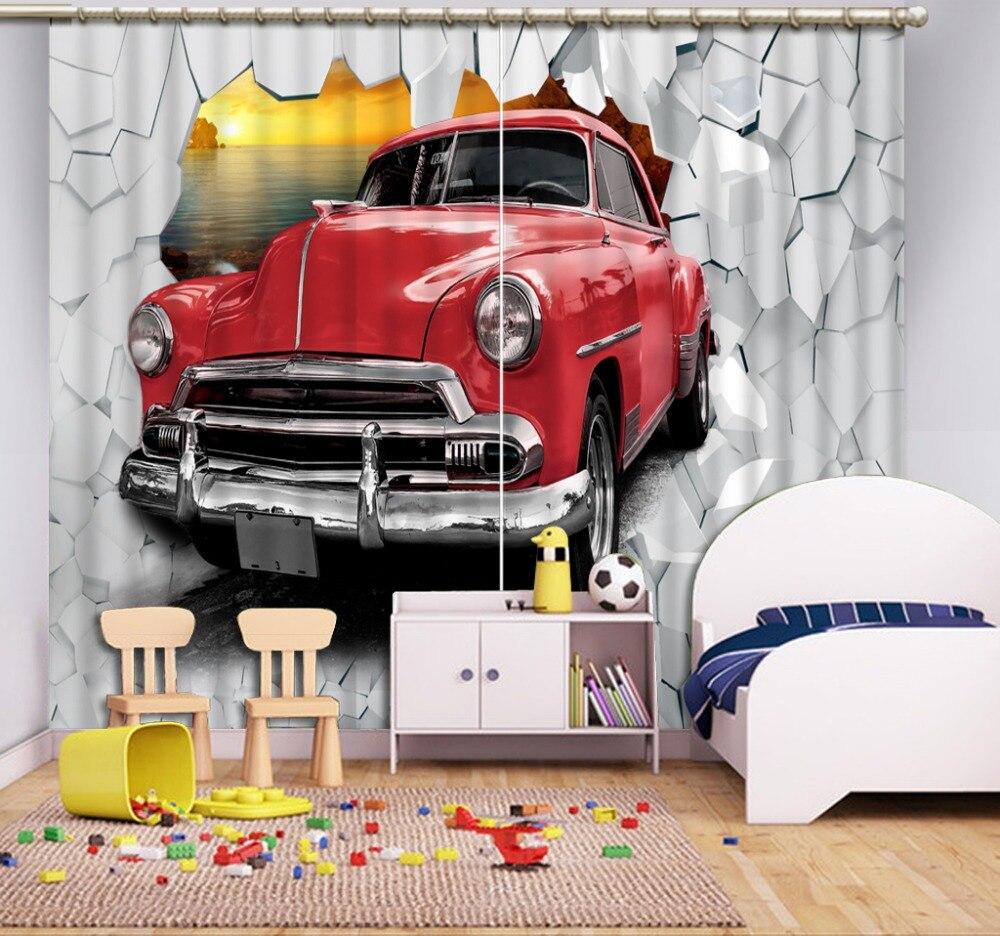 Cortinas opacas de lujo para ventana 3D, tamaño personalizado, cortinas para sala de estar, ladrillo, coche, cortinas opacas