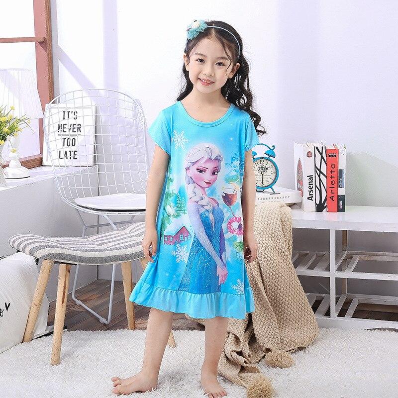 Disney princesa de verano vestido de noche de los niños pijama de los niños inicio ropa de bebé de dibujos animados de congelados Elsa camisón niña ropa de dormir traje