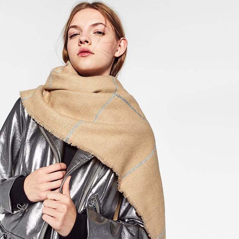 200*80 CM bufanda de doble cara de Cachemira de imitación para mujer Otoño Invierno grueso europeo y americano clásico largo chal cálido